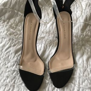 Shoes - LIKE NEW CLEAR ANKLE STRAP HEELS